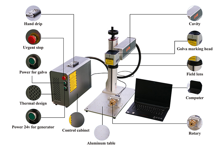 Portable mini fiber laser marking machine