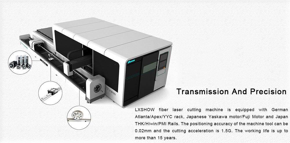Metal Plate   Round/Square tube Fiber laser cutting machine LXF1530GR Exchange table  Protective cover