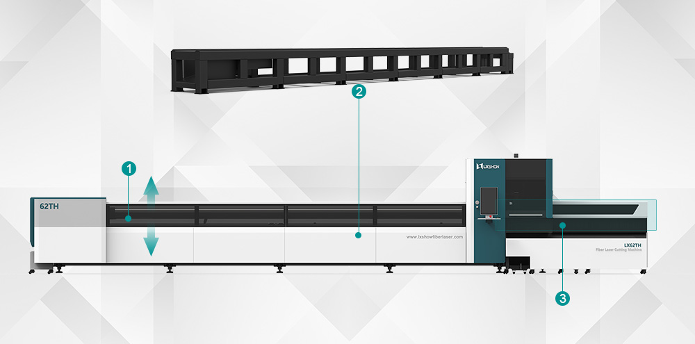 [LX62TH]Round Square tube metal stainless steel carbon steel iron pipe fiber laser tube cutting machine 1000W 2000W 3000W 4000W 6000W